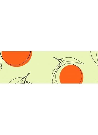 Artikel Çizgisel Portakal Desenli Runner Masa Örtüsü 43,5X141,5Cm Renkli